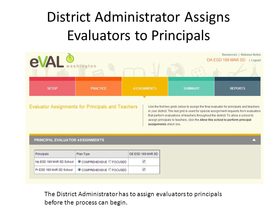 District Administrator Assigns Evaluators to Principals The District Administrator has to assign evaluators to principals before the process can begin.