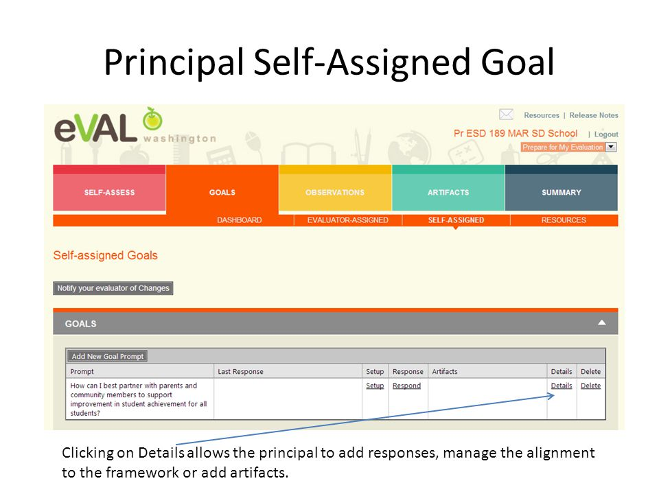 Clicking on Details allows the principal to add responses, manage the alignment to the framework or add artifacts.