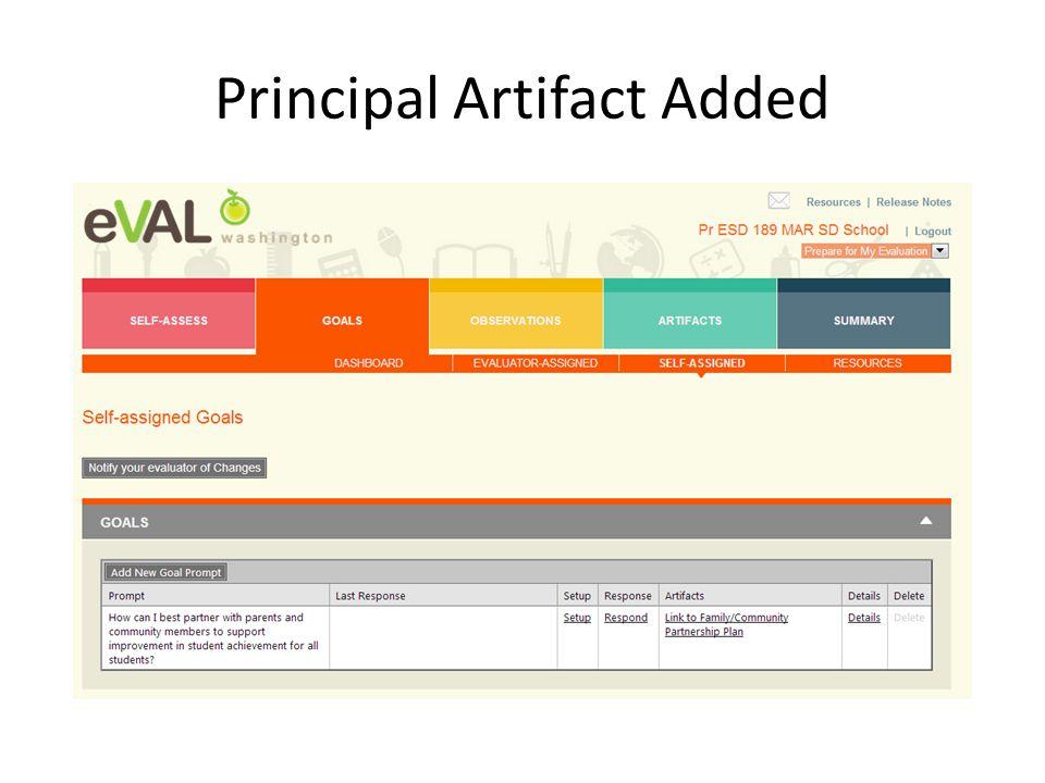 Principal Artifact Added