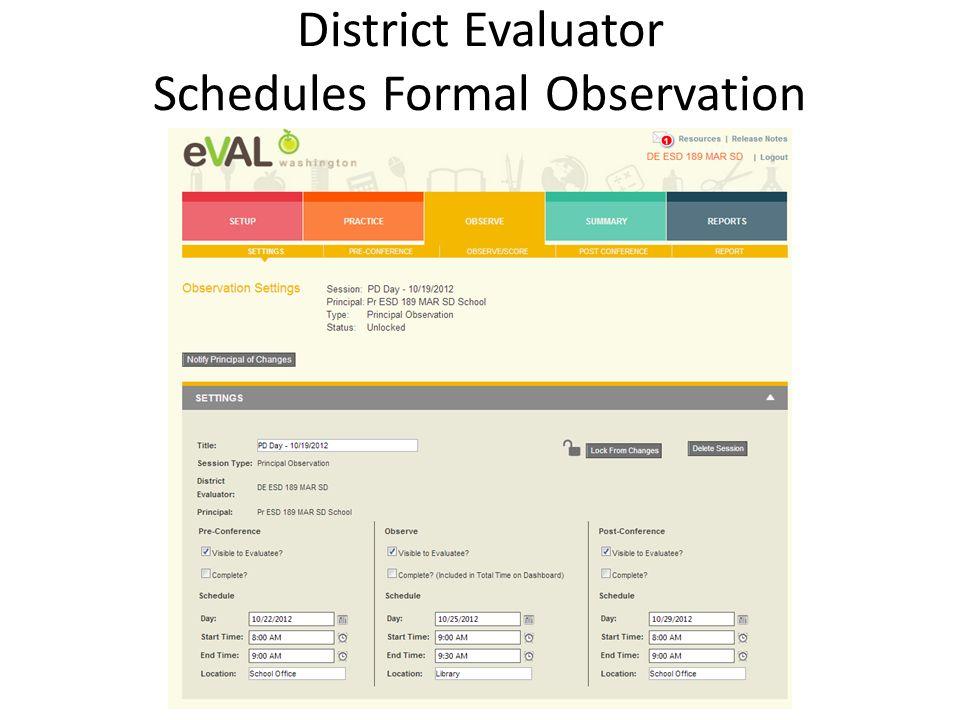 District Evaluator Schedules Formal Observation