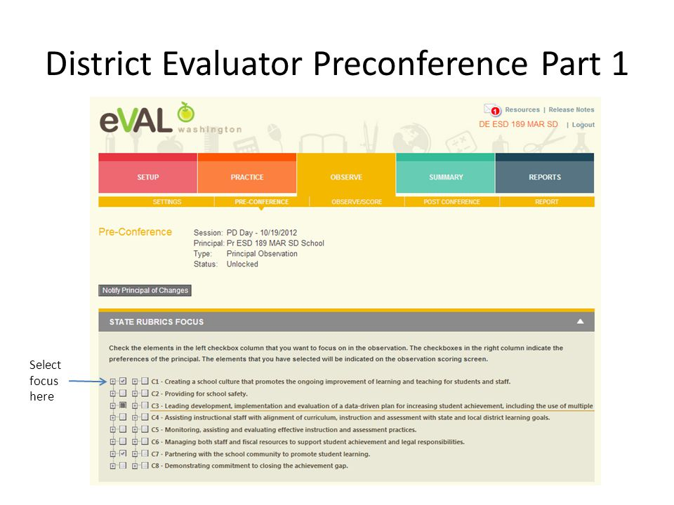 District Evaluator Preconference Part 1 Select focus here