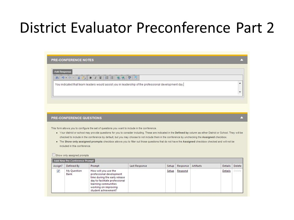 District Evaluator Preconference Part 2