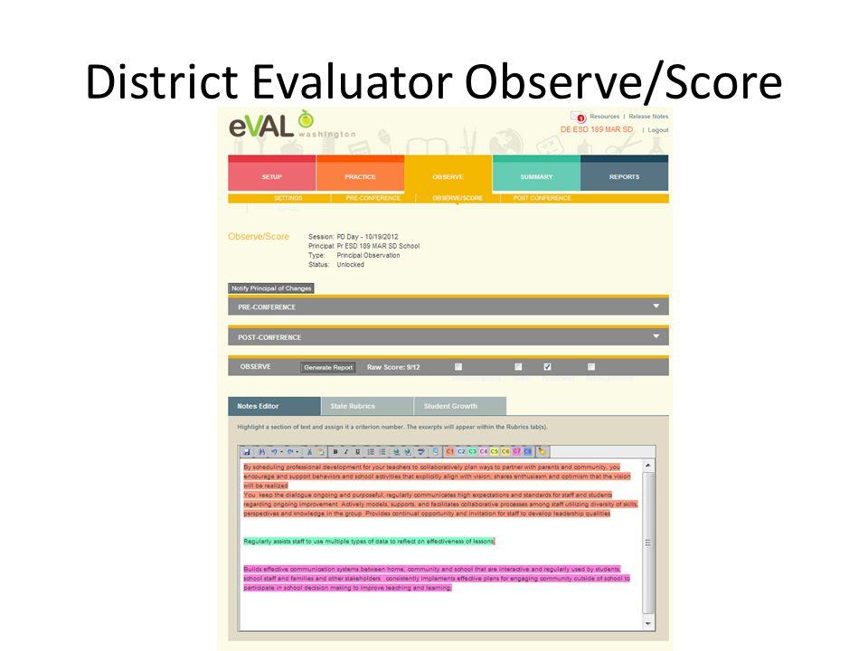 District Evaluator Observe/Score