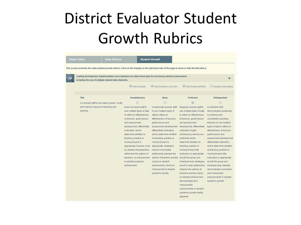District Evaluator Student Growth Rubrics
