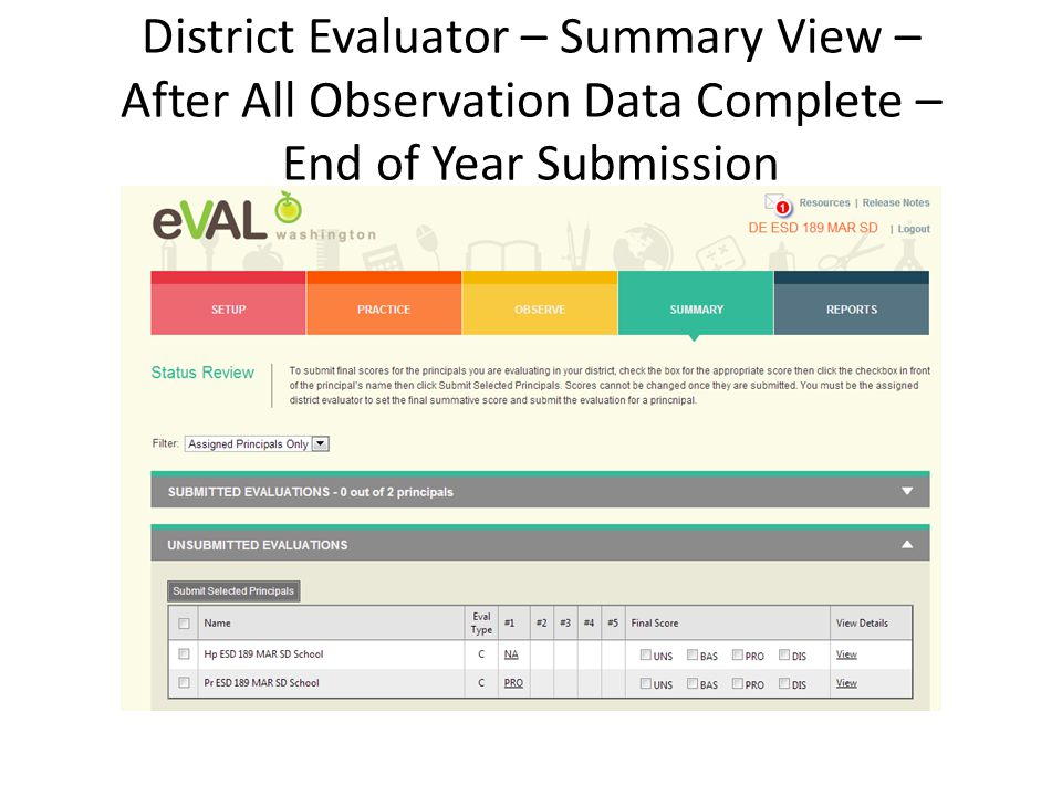 District Evaluator – Summary View – After All Observation Data Complete – End of Year Submission