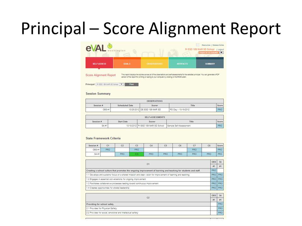 Principal – Score Alignment Report