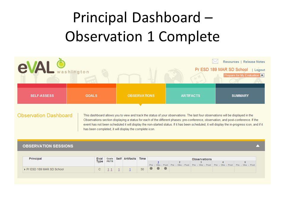 Principal Dashboard – Observation 1 Complete