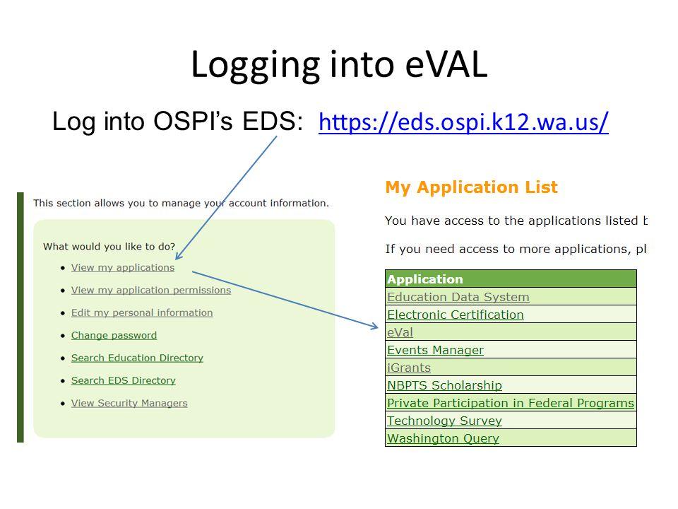 Logging into eVAL Log into OSPI's EDS: https://eds.ospi.k12.wa.us/ https://eds.ospi.k12.wa.us/