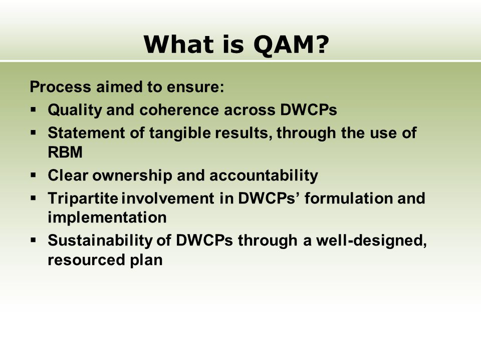 What is QAM? Process aimed to ensure:  Quality and coherence across DWCPs  Statement of tangible results, through the use of RBM  Clear ownership a