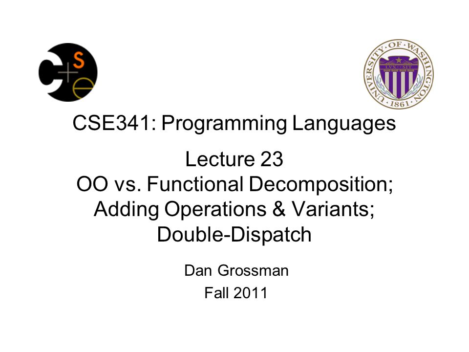 Binary operation in SML Add works differently for most combinations of Int, String, Rational –Run-time error for any other kinds of expression Natural approach: pattern-match on the pair of values –For commutative possibilities, can re-call with (v2,v1) Fall 201112CSE341: Programming Languages fun add_values (v1,v2) = case (v1,v2) of (Int i, Int j) => Int (i+j) | (Int i, String s) => String (Int.toString i ^ s) | (Int i, Rational(j,k)) => Rational (i*k+j,k) | (Rational _, Int _) => add_values (v2,v1) | … (* 5 more cases (3^2 total): see lec23.sml *) fun eval e = case e of … | Add(e1,e2) => add_values (eval e1, eval e2)