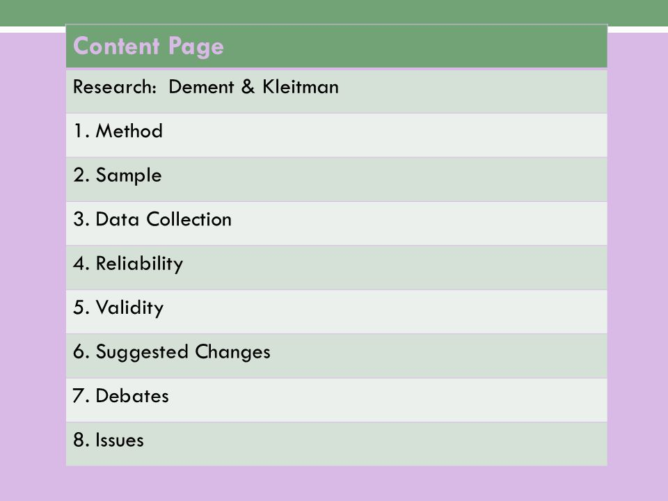 Content Page Research: Dement & Kleitman 1. Method 2. Sample 3. Data Collection 4. Reliability 5. Validity 6. Suggested Changes 7. Debates 8. Issues