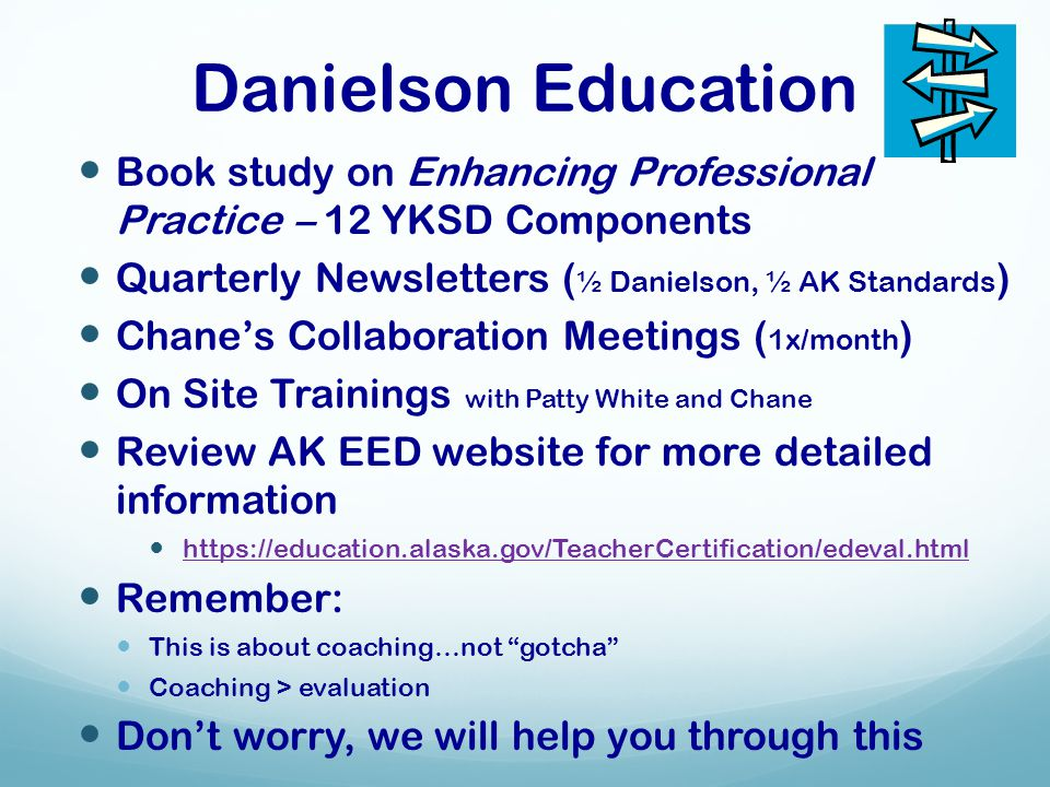 Danielson Education Book study on Enhancing Professional Practice – 12 YKSD Components Quarterly Newsletters ( ½ Danielson, ½ AK Standards ) Chane's C