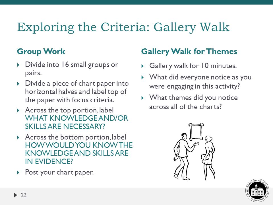 Group WorkGallery Walk for Themes 22  Divide into 16 small groups or pairs.