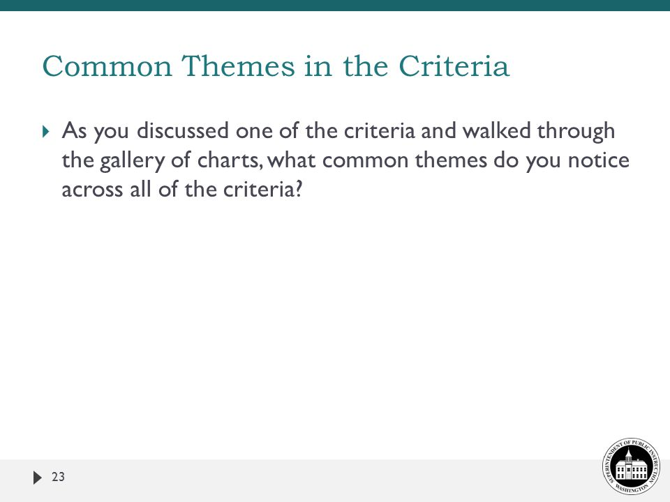  As you discussed one of the criteria and walked through the gallery of charts, what common themes do you notice across all of the criteria.