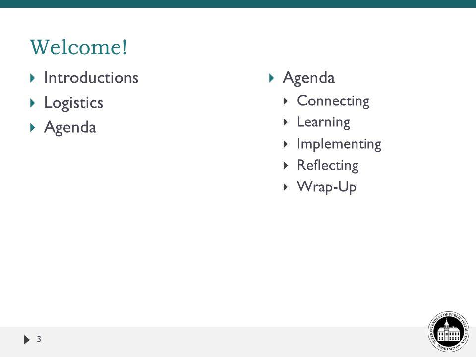  Introductions  Logistics  Agenda 3 Welcome.