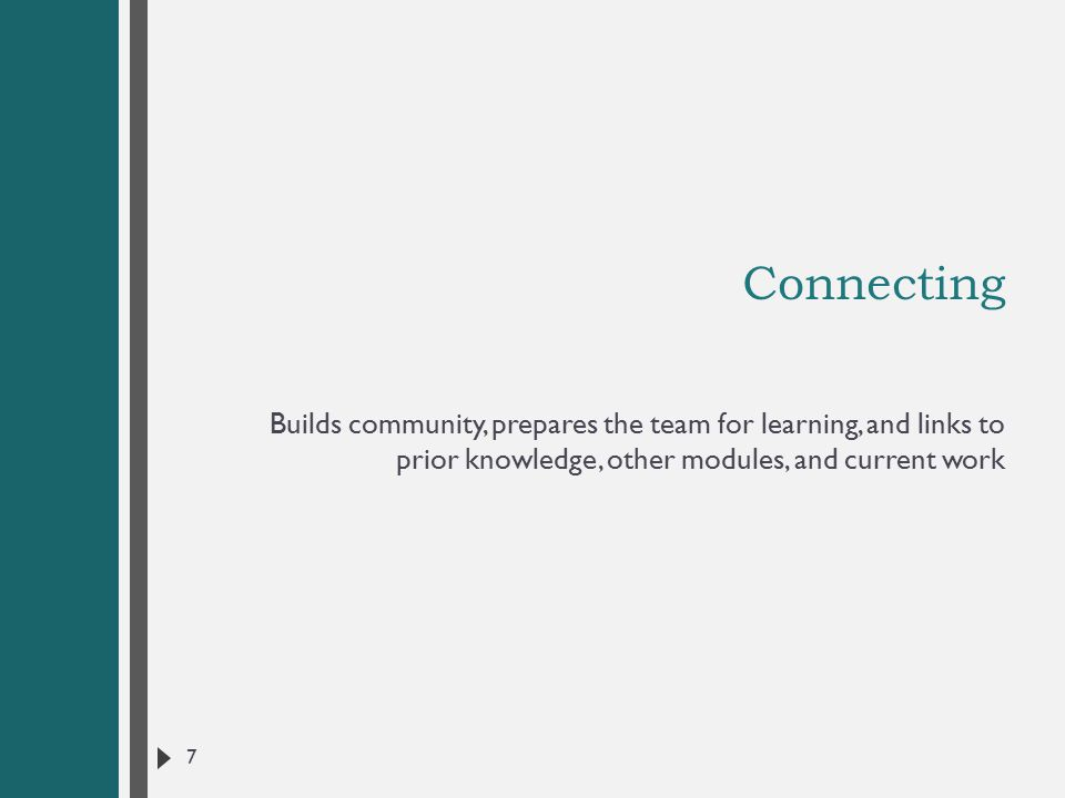 Connecting Builds community, prepares the team for learning, and links to prior knowledge, other modules, and current work 7