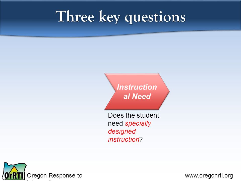 Oregon Response to Intervention www.oregonrti.org Three key questions Instruction al Need Does the student need specially designed instruction