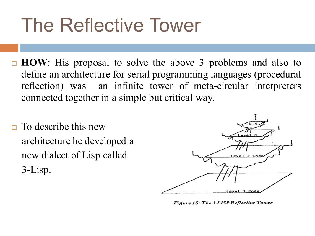 The Reflective Tower  HOW: His proposal to solve the above 3 problems and also to define an architecture for serial programming languages (procedural reflection) was an infinite tower of meta-circular interpreters connected together in a simple but critical way.