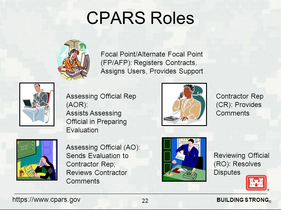 BUILDING STRONG ® CPARS Roles 22 Focal Point/Alternate Focal Point (FP/AFP): Registers Contracts, Assigns Users, Provides Support Assessing Official Rep (AOR): Assists Assessing Official in Preparing Evaluation Assessing Official (AO): Sends Evaluation to Contractor Rep; Reviews Contractor Comments Contractor Rep (CR): Provides Comments Reviewing Official (RO): Resolves Disputes https://www.cpars.gov