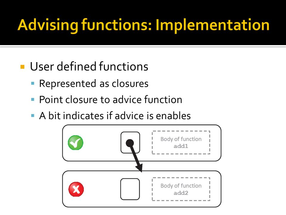  User defined functions  Represented as closures  Point closure to advice function  A bit indicates if advice is enables