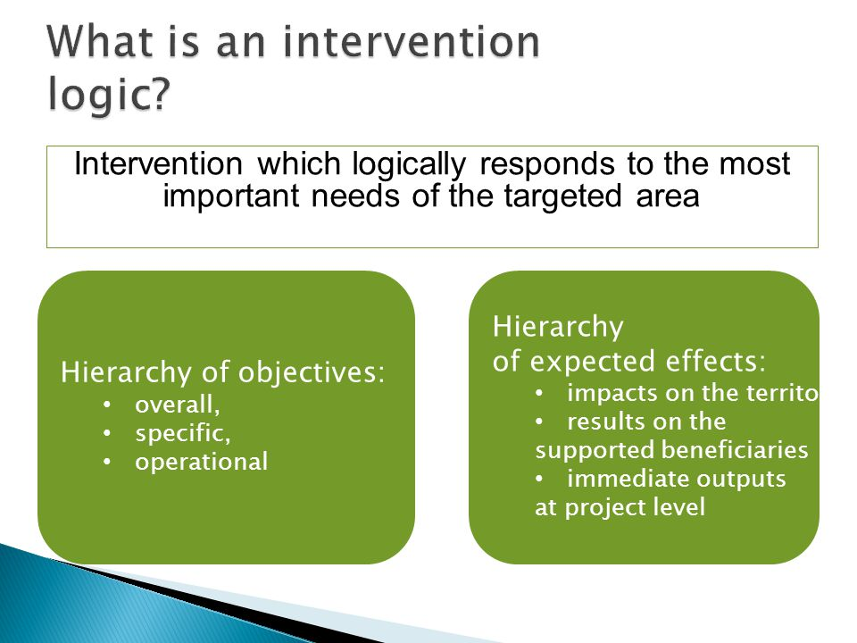 Intervention which logically responds to the most important needs of the targeted area 4/5 June 2009 Challenges of the CMEF & Ongoing Evaluation10 Hierarchy of objectives: overall, specific, operational Hierarchy of expected effects: impacts on the territory, results on the supported beneficiaries immediate outputs at project level