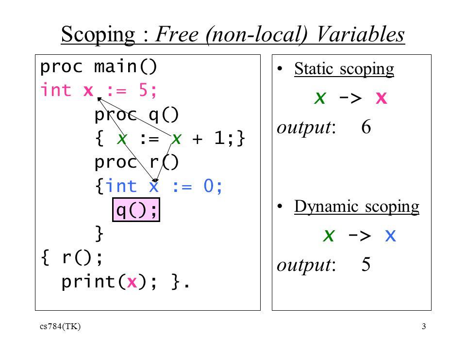 cs784(TK)3 proc main() int x := 5; proc q() { x := x + 1;} proc r() {int x := 0; q(); } { r(); print(x); }.