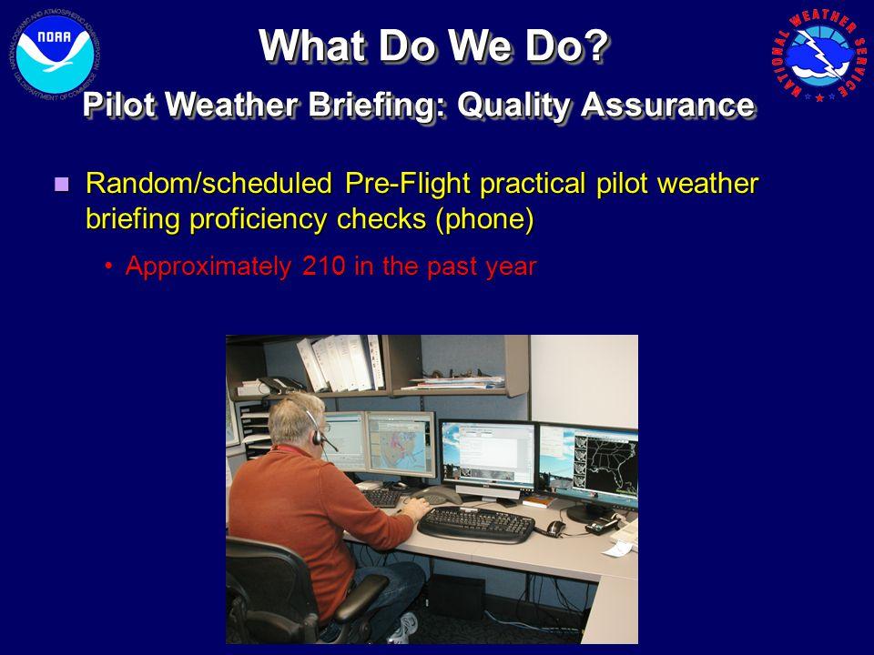 Random/scheduled Pre-Flight practical pilot weather briefing proficiency checks (phone) Random/scheduled Pre-Flight practical pilot weather briefing p