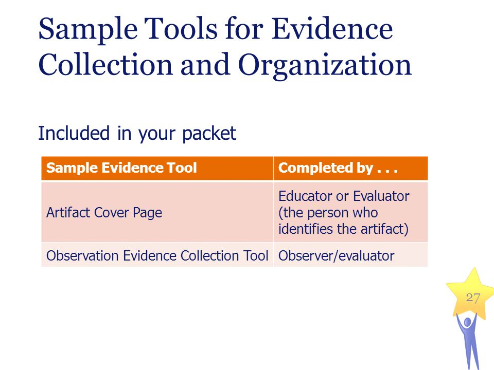 Sample Tools for Evidence Collection and Organization Included in your packet 27 Sample Evidence ToolCompleted by... Artifact Cover Page Educator or E