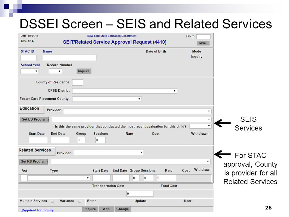SEIS Services DSSEI Screen – SEIS and Related Services For STAC approval, County is provider for all Related Services 25