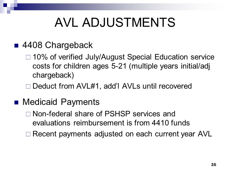 AVL ADJUSTMENTS 4408 Chargeback  10% of verified July/August Special Education service costs for children ages 5-21 (multiple years initial/adj chargeback)  Deduct from AVL#1, add'l AVLs until recovered Medicaid Payments  Non-federal share of PSHSP services and evaluations reimbursement is from 4410 funds  Recent payments adjusted on each current year AVL 35
