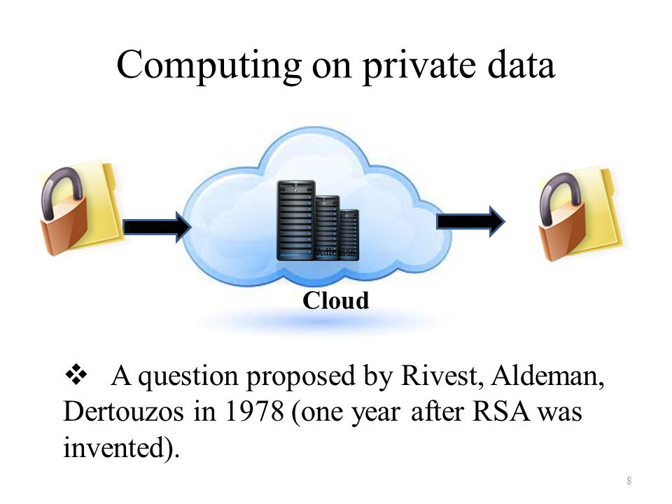 Computing on private data Cloud 8  A question proposed by Rivest, Aldeman, Dertouzos in 1978 (one year after RSA was invented).