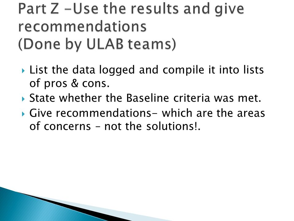  List the data logged and compile it into lists of pros & cons.  State whether the Baseline criteria was met.  Give recommendations- which are the