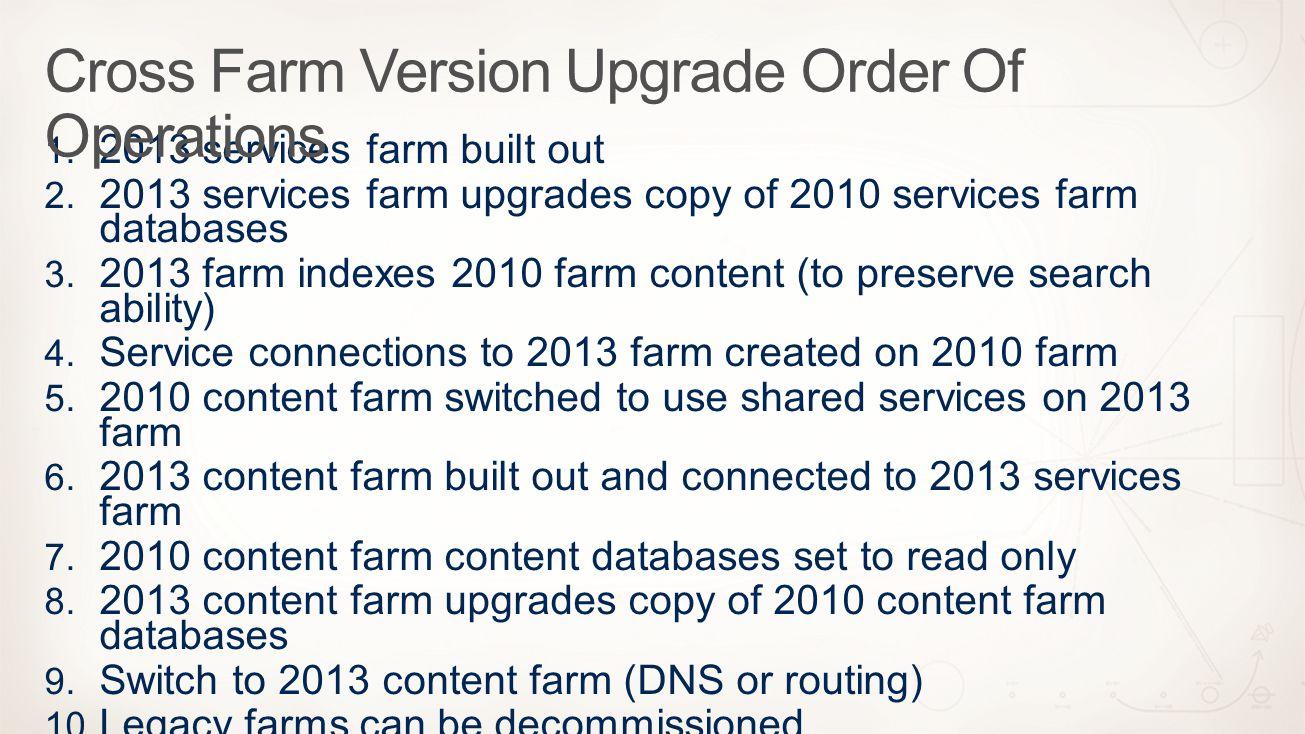 Cross Farm Version Upgrade Order Of Operations