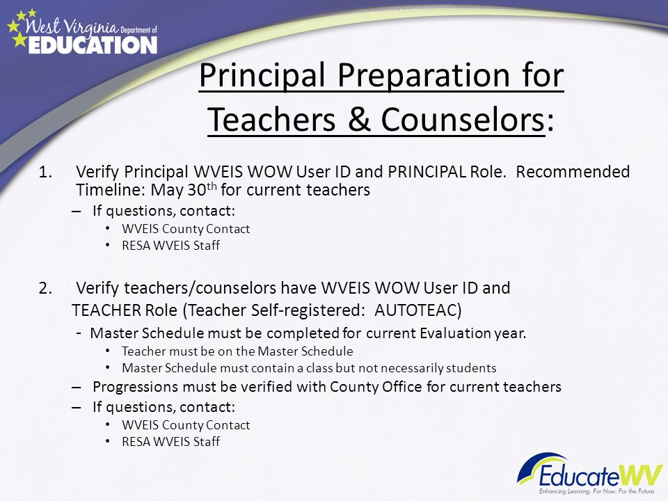 Principal Preparation for Teachers & Counselors: 1.Verify Principal WVEIS WOW User ID and PRINCIPAL Role.