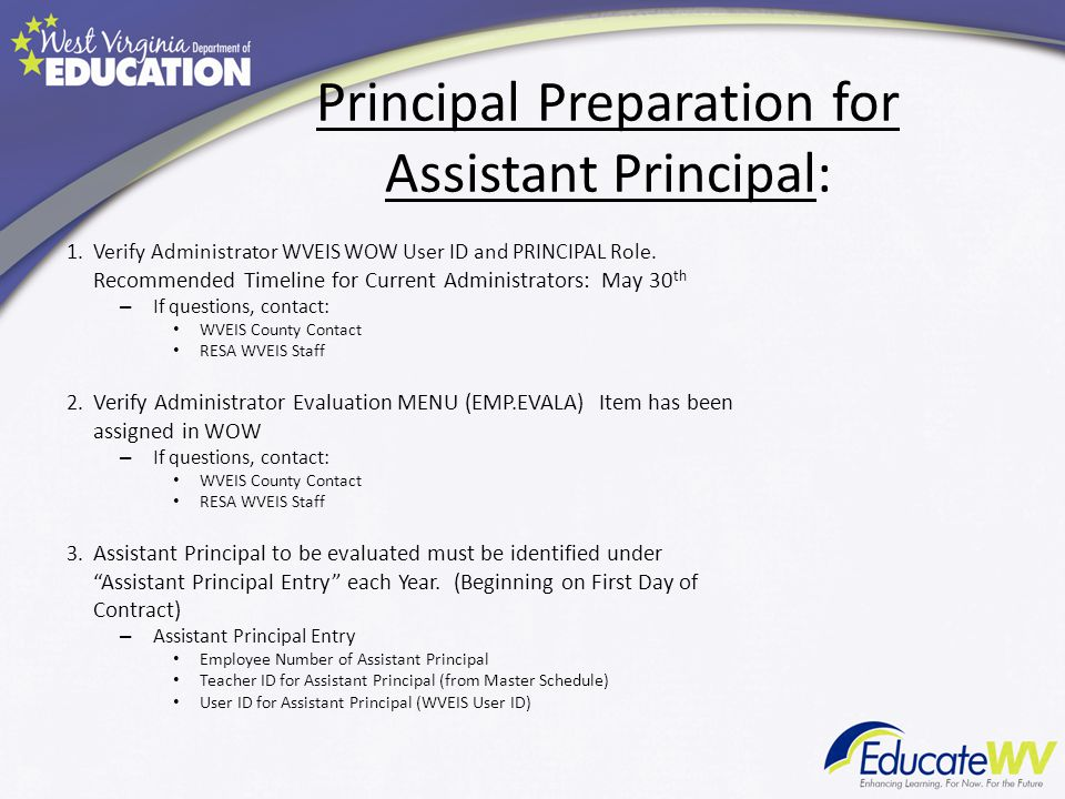 Principal Preparation for Assistant Principal: 1.