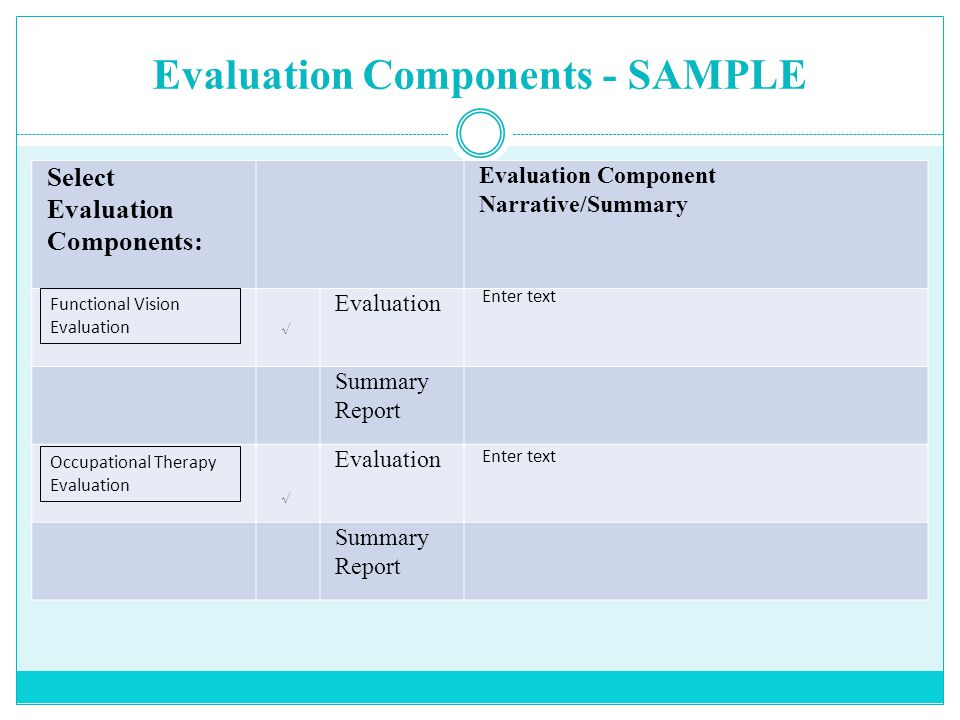 Evaluation Components - SAMPLE Select Evaluation Components: Evaluation Component Narrative/Summary Evaluation Summary Report Evaluation Summary Report Functional Vision Evaluation Enter text √ √ Occupational Therapy Evaluation Enter text