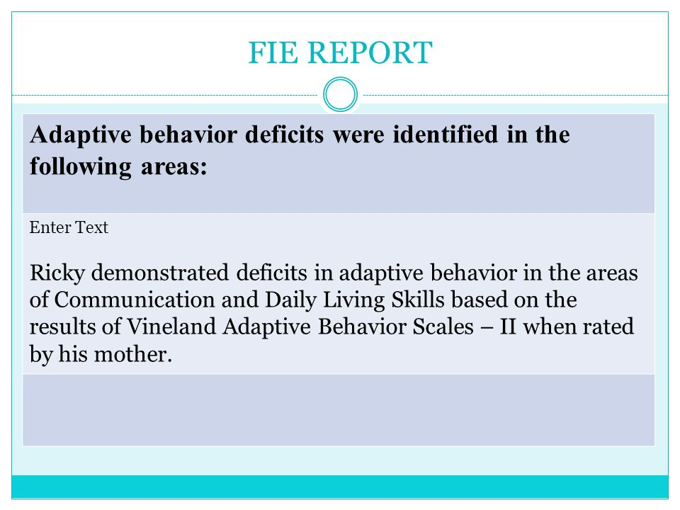 FIE REPORT (ED) Emotional/behavior concerns are: (ED) Francisco demonstrates sufficient characteristics of anxiety and depression and these symptoms are displayed through a poor self image, lack of interest in pleasurable activities, irritability, worry, sadness, feelings of being a bad person, and inability to change his situation.