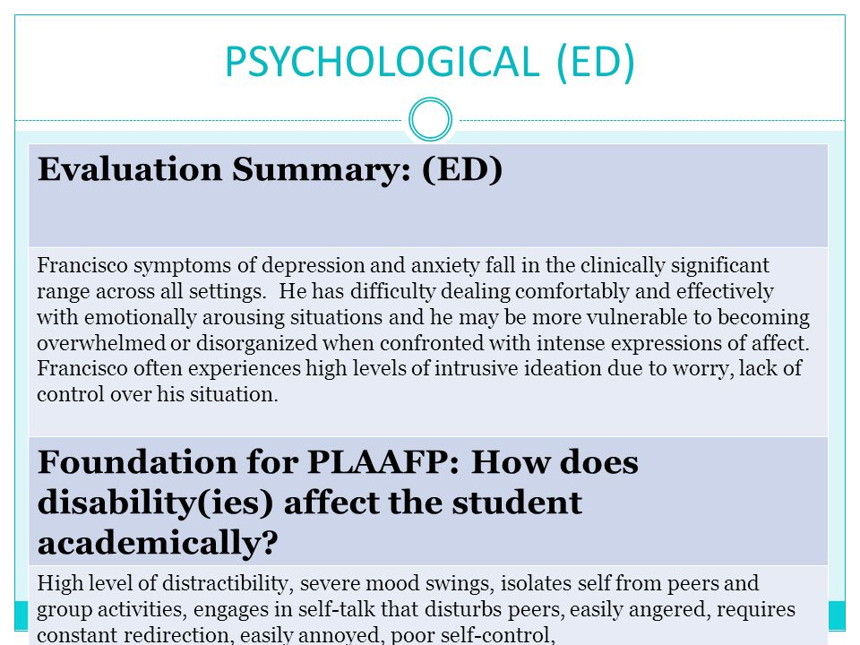 PSYCHOLOGICAL (ED) Evaluation Summary: (ED) Francisco symptoms of depression and anxiety fall in the clinically significant range across all settings.