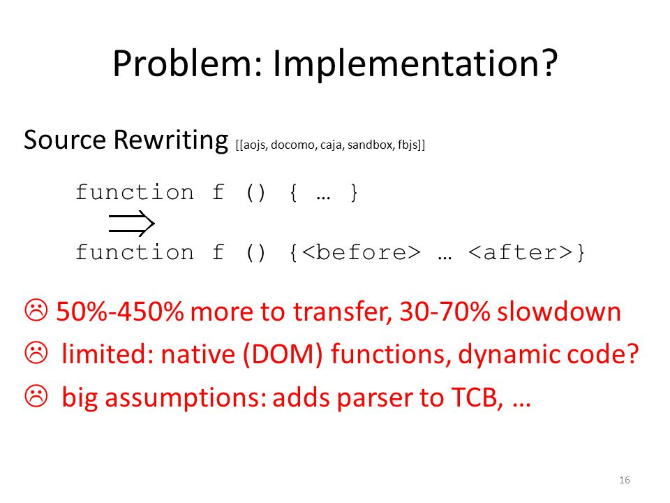 function f () { … } Problem: Implementation.