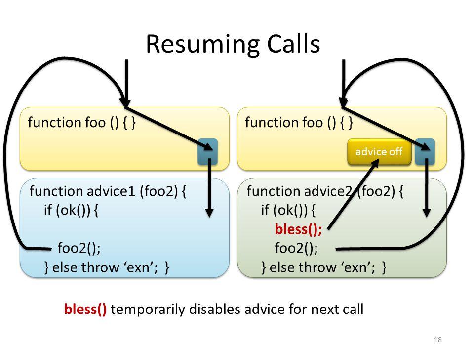 function advice1 (foo2) { if (ok()) { foo2(); } else throw 'exn'; } function advice1 (foo2) { if (ok()) { foo2(); } else throw 'exn'; } function foo () { } Resuming Calls 18 1.function (eval, str) { if (ok(str)) { bless(); return eval(str); } else throw 'exn'; } 3.