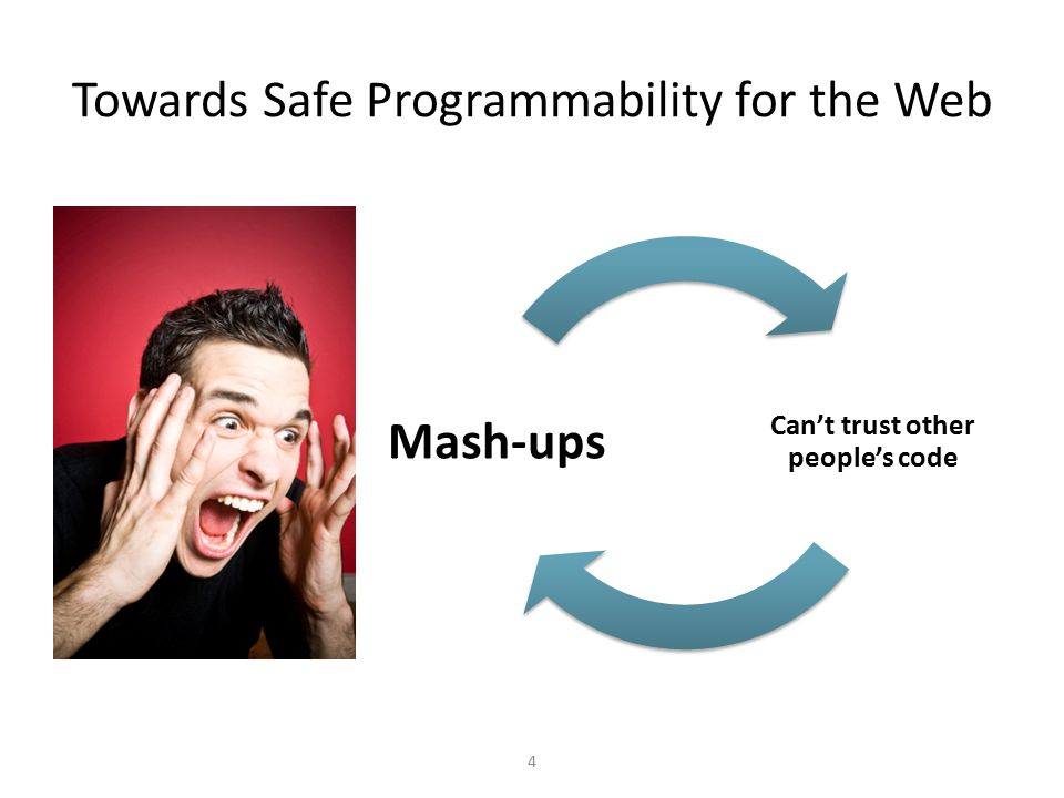 Towards Safe Programmability for the Web 4 Can't trust other people's code Mash-ups