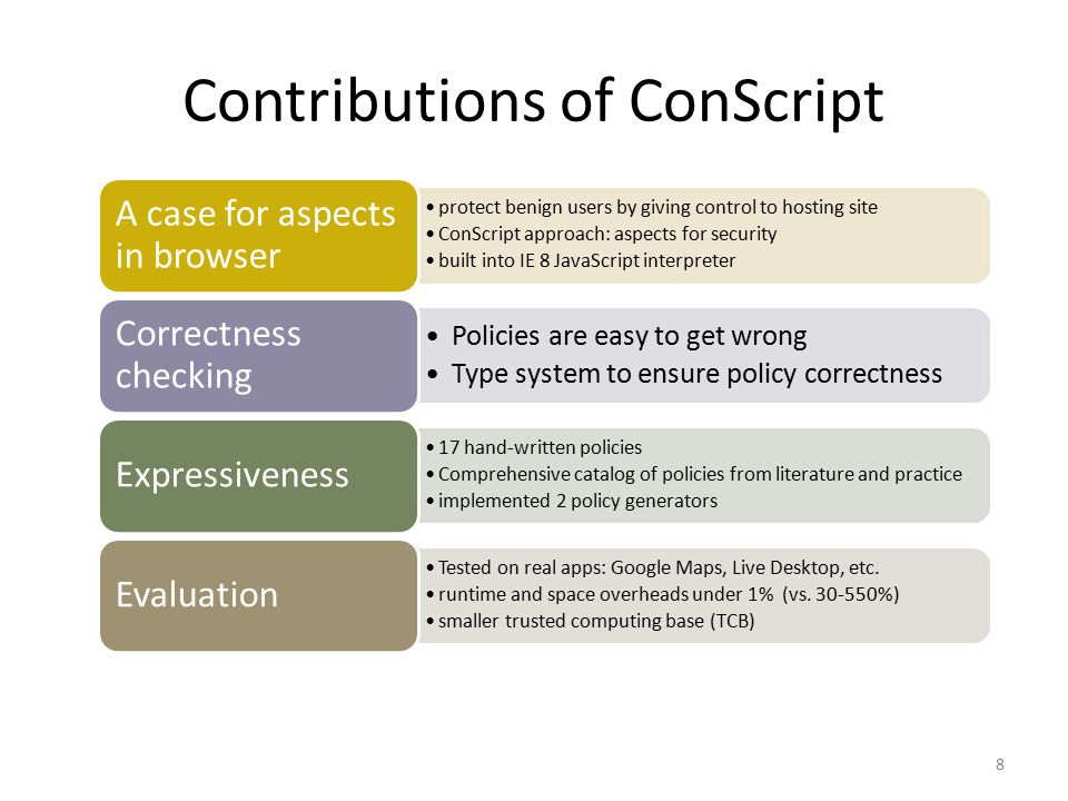 Goals and Contributions 39 protect benign users by giving control to hosting site ConScript approach: aspects for security control loading and use of scripts 16 hand-written policies correct policies are hard to write proposed type system to catch common attacks implemented 2 policy generators express many policies safely built into IE 8 JavaScript interpreter runtime and space overheads under 1% (vs.
