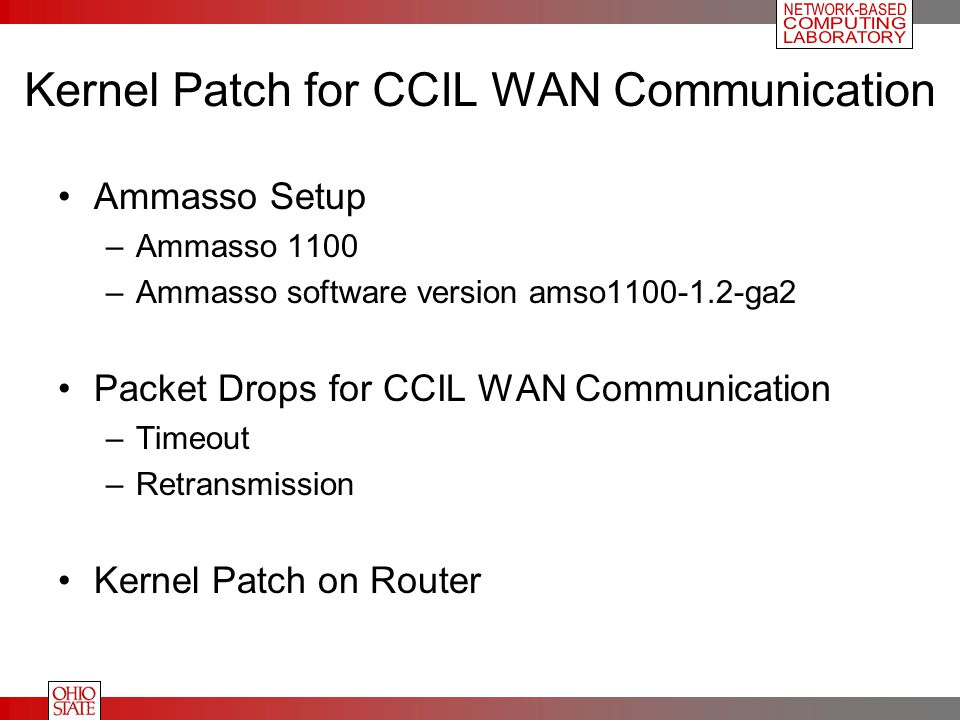 Kernel Patch for CCIL WAN Communication Ammasso Setup –Ammasso 1100 –Ammasso software version amso1100-1.2-ga2 Packet Drops for CCIL WAN Communication –Timeout –Retransmission Kernel Patch on Router