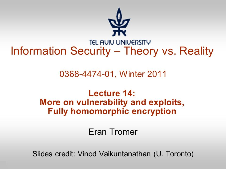 1 Information Security – Theory vs.