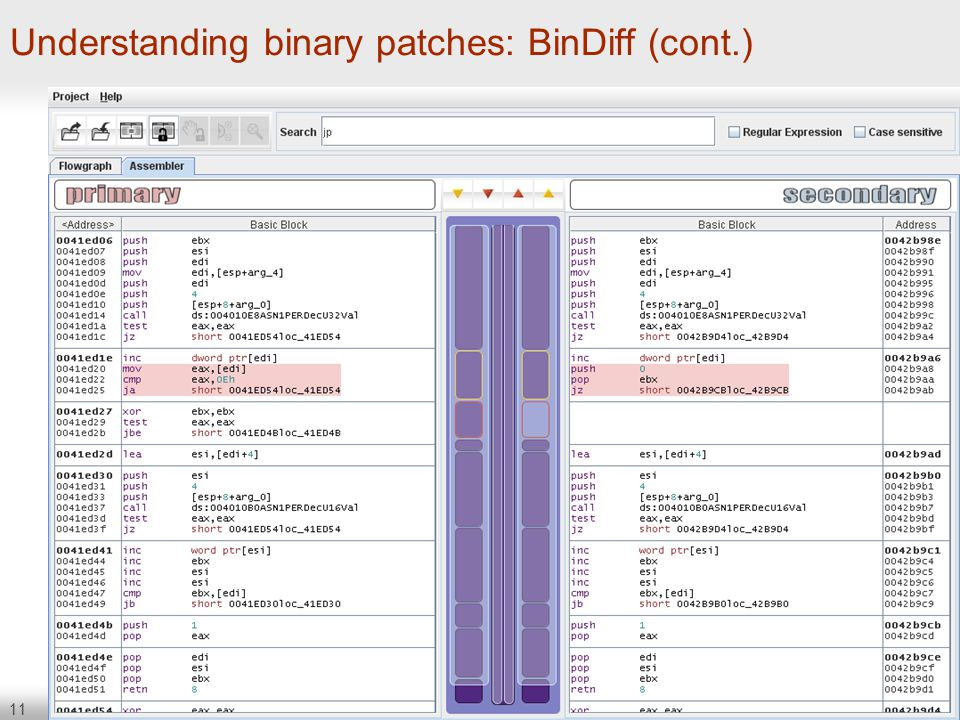 11 Understanding binary patches: BinDiff (cont.)