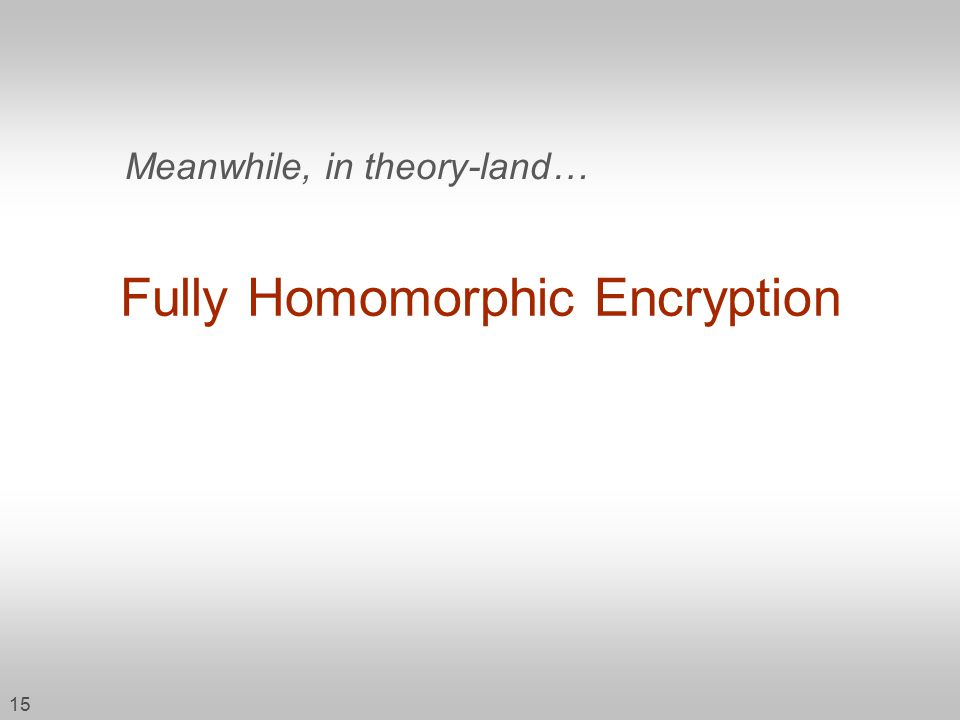 15 Fully Homomorphic Encryption Meanwhile, in theory-land…