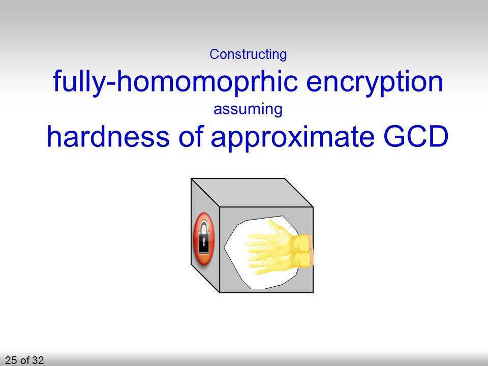 Constructing fully-homomoprhic encryption assuming hardness of approximate GCD 25 of 32