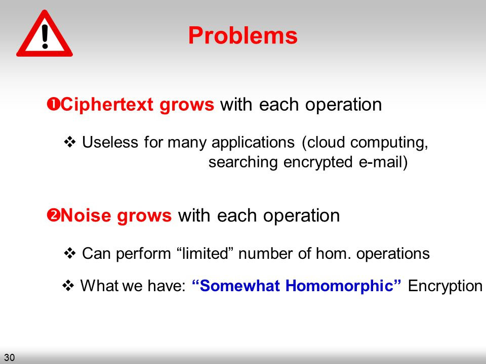 Problems  Ciphertext grows with each operation  Noise grows with each operation  Useless for many applications (cloud computing, searching encrypted e-mail)  Can perform limited number of hom.