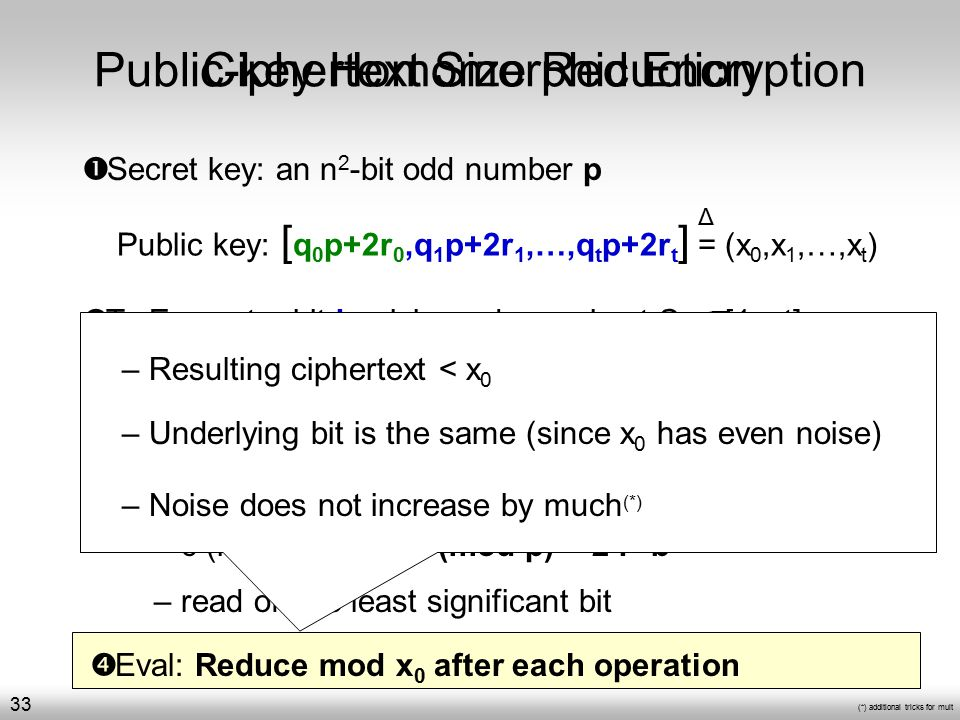 c = + b (mod x 0 ) Public-key Homomorphic Encryption  Secret key: an n 2 -bit odd number p  To Decrypt a ciphertext c: – c (mod p) = 2·r+b (mod p) = 2·r+b – read off the least significant bit  Eval: Reduce mod x 0 after each operation  To Encrypt a bit b: pick random subset S [1…t] Ciphertext Size Reduction – Resulting ciphertext < x 0 – Underlying bit is the same (since x 0 has even noise) – Noise does not increase by much (*) Public key: [ q 0 p+2r 0,q 1 p+2r 1,…,q t p+2r t ] = (x 0,x 1,…,x t ) Δ (*) additional tricks for mult 33