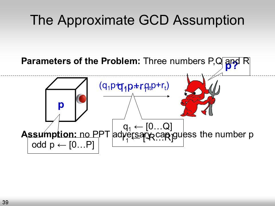 The Approximate GCD Assumption q 1 p+r 1 p.